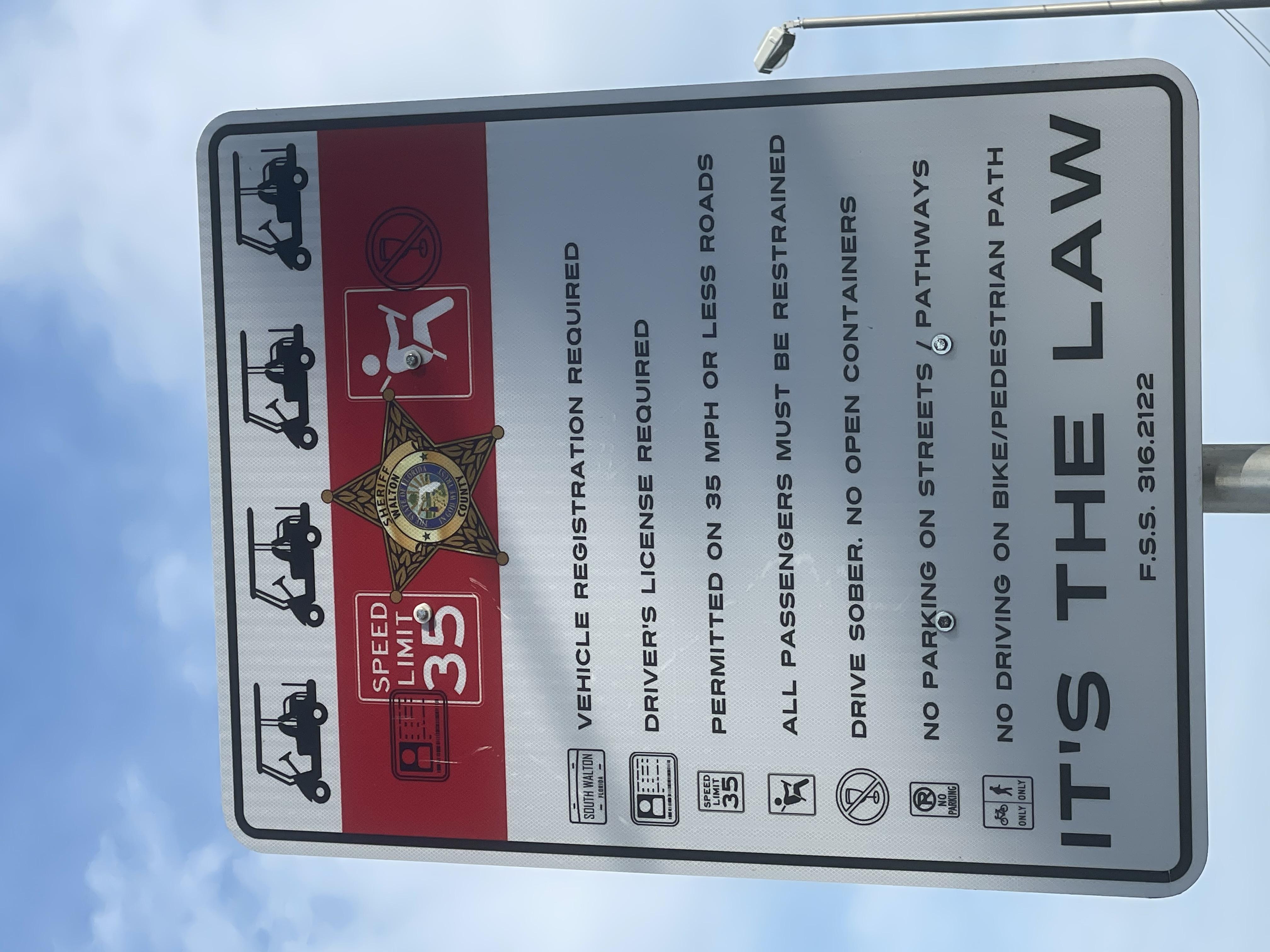 30A Santa Rosa Beach FL Road Sign