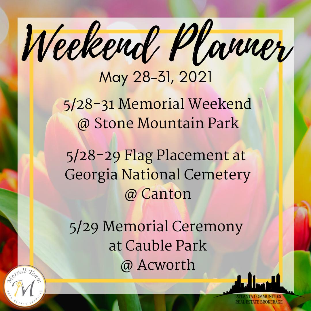 Weekend Planner May 26, 2021