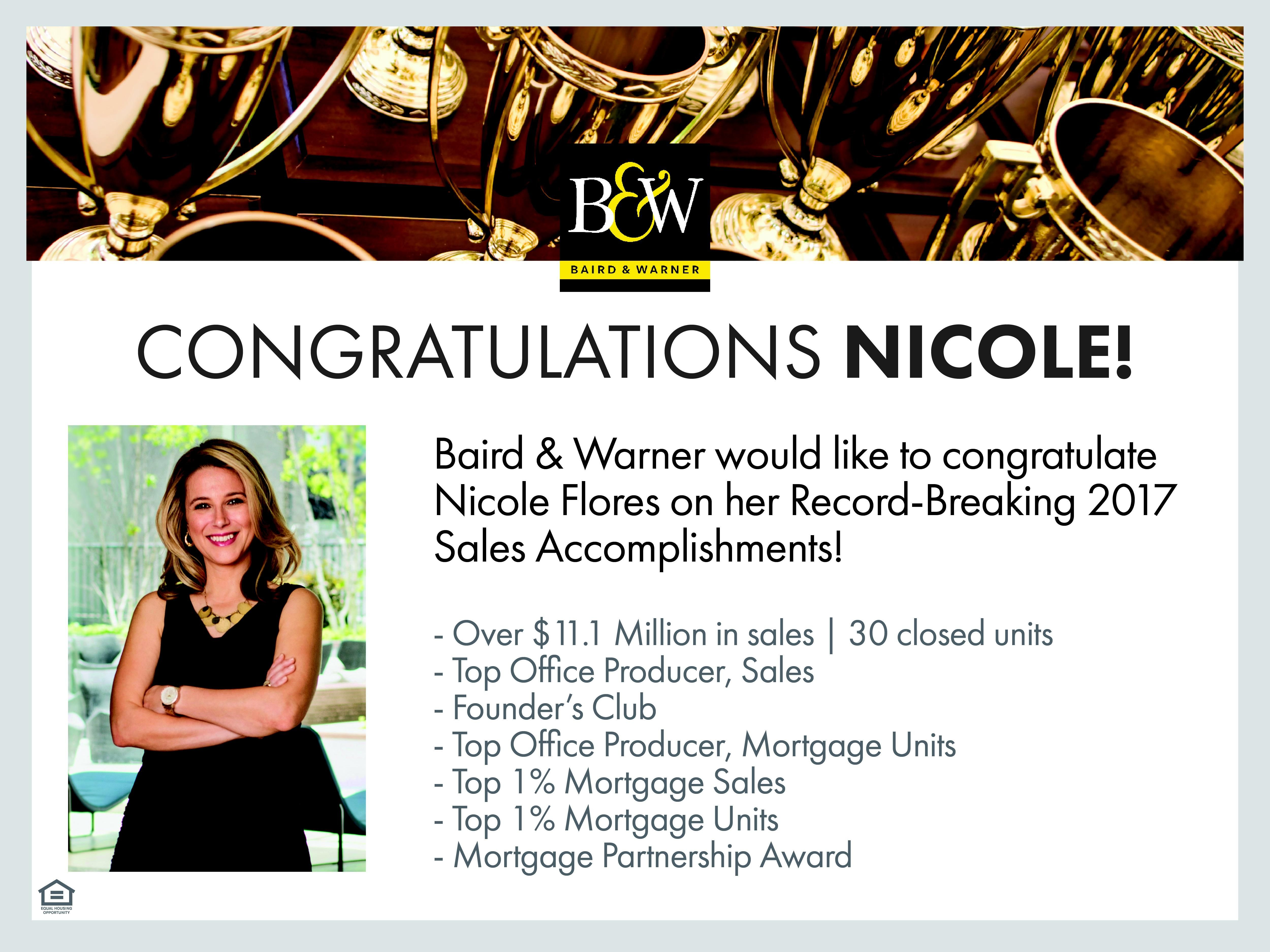 Nicole Flores named to Baird & Warner Founder's Club