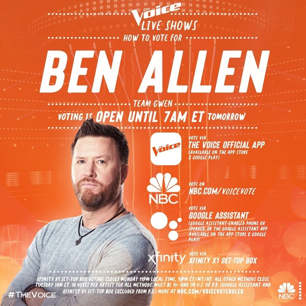 FOUR Ways to vote for Southwest Florida Country Music Star Ben Allen On The Voice from the Hoey Team exp realty 12 04 2020