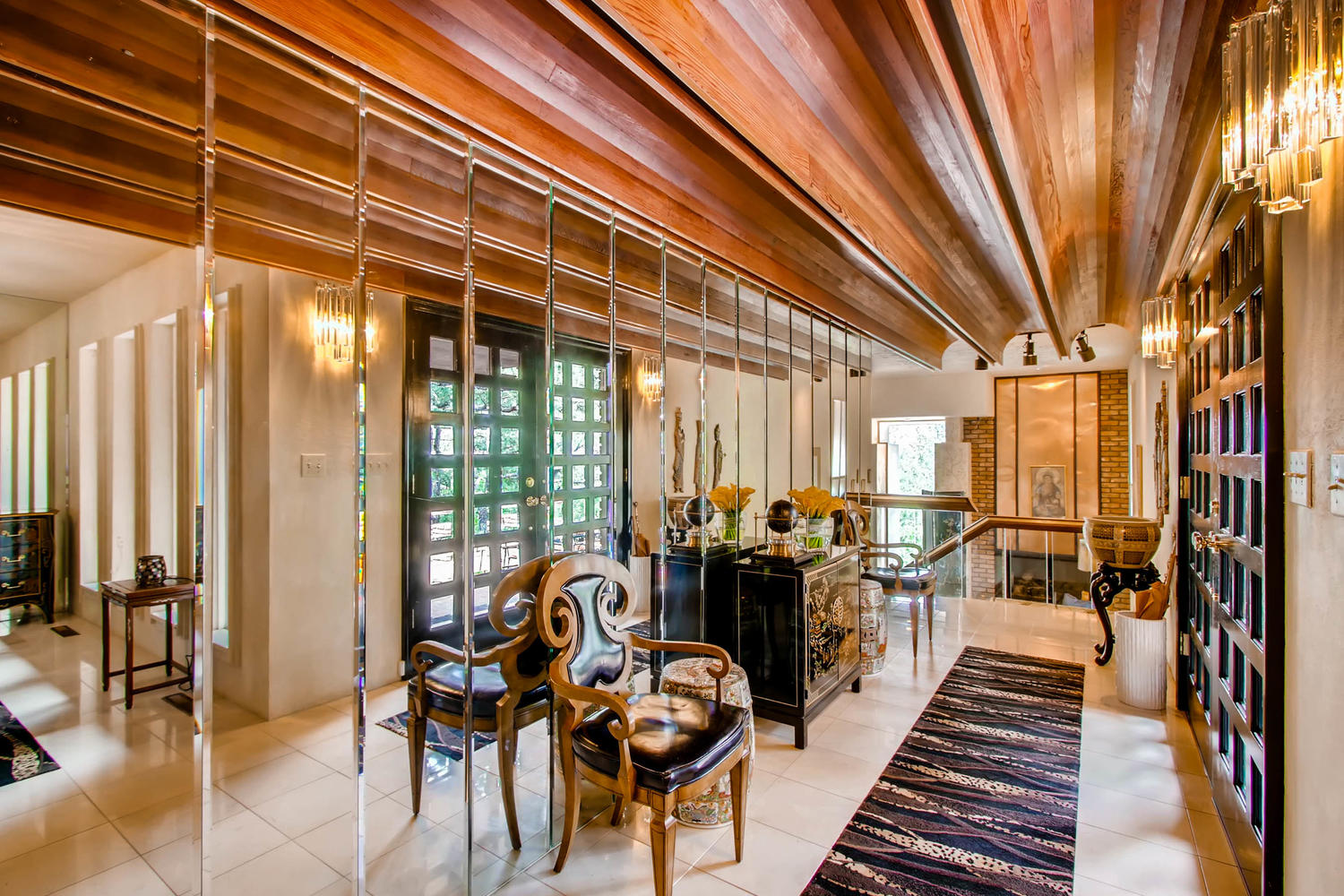 Front Entry Way with Beautiful Woodwork in Ceilings