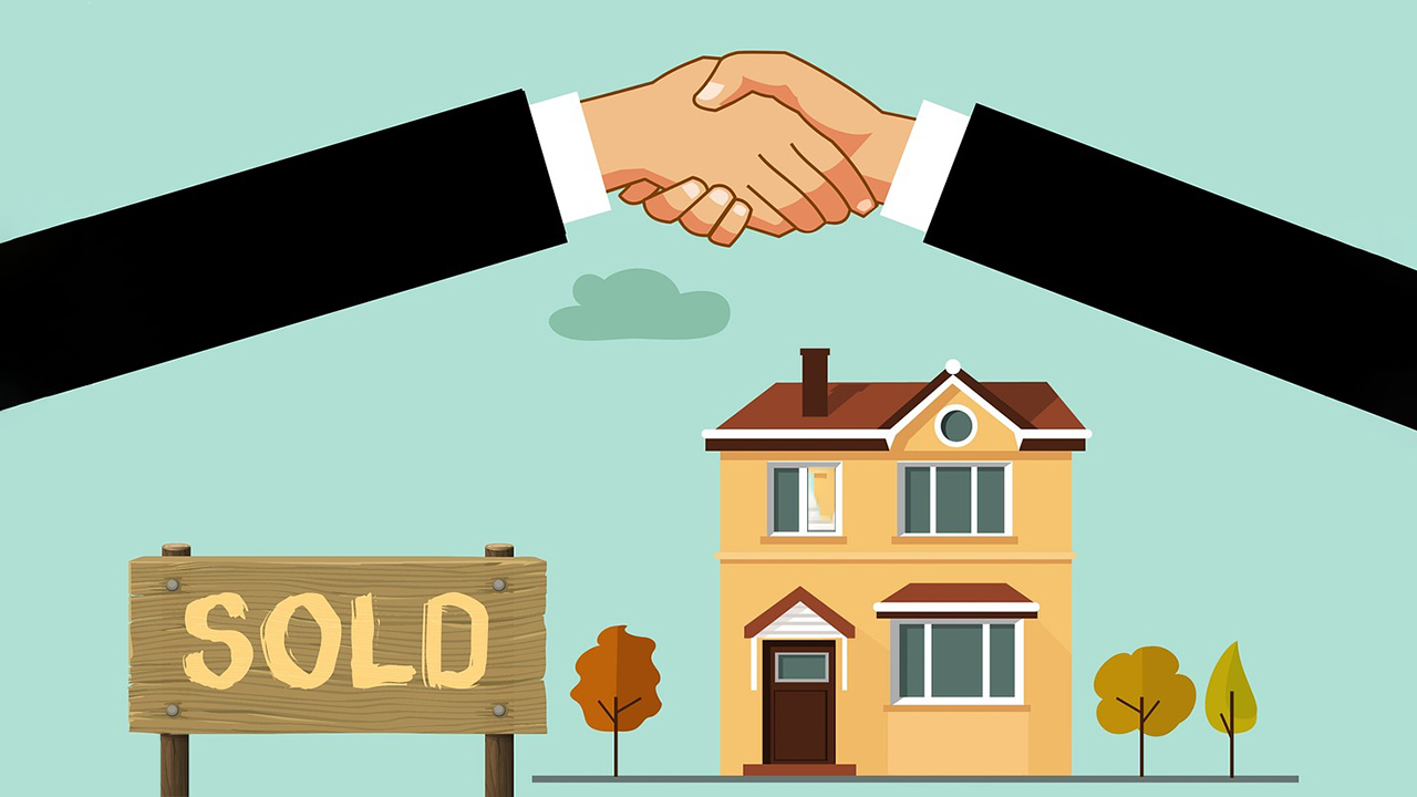 cartoon people shaking hands in front of sold home