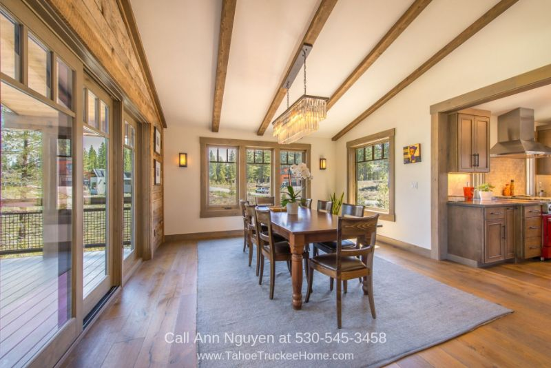 Gray's Crossing Truckee CA Real Estate Properties for Sale - Feast your eyes on stunning wooded views in the elegant dining room of this home for sale in Truckee CA.