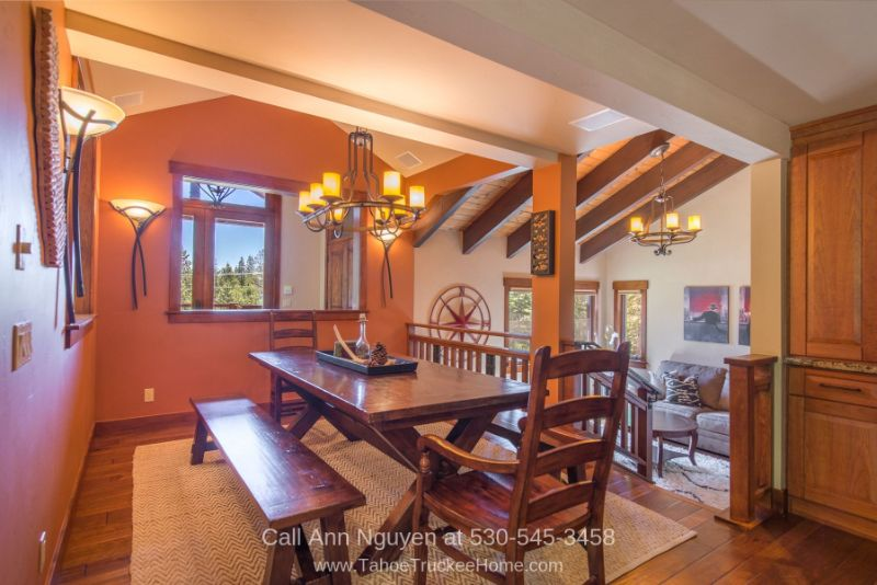 Homes for Sale in Tahoe Donner CA - Entertaining is a breeze in the elegant formal dining room of this Tahoe Donner vacation home for sale.