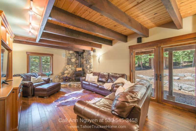 Tahoe Donner CA Homes - You'll love the rustic flow and indoor to outdoor appeal of the family room of this Tahoe Donner home for sale.