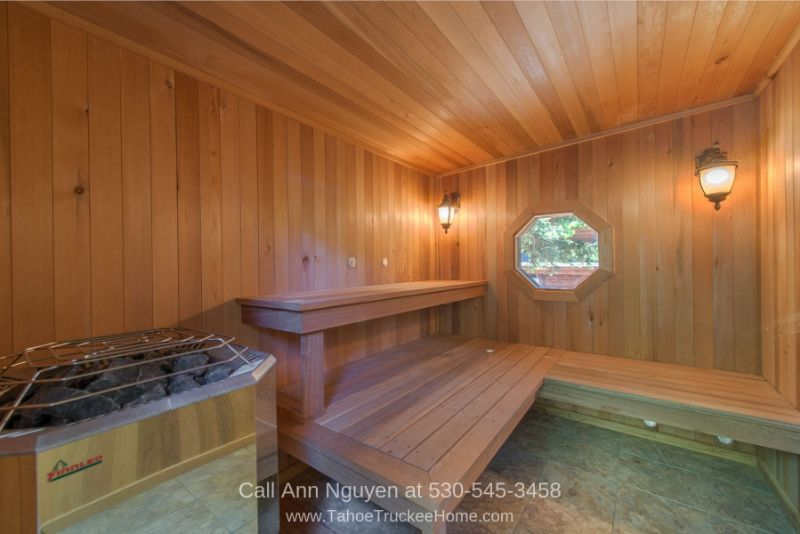Tahoe Donner Truckee CA Real Estate Properties for Sale - A relaxing session in the backyard sauna of this Tahoe Donner CA home is the perfect way to end the day.