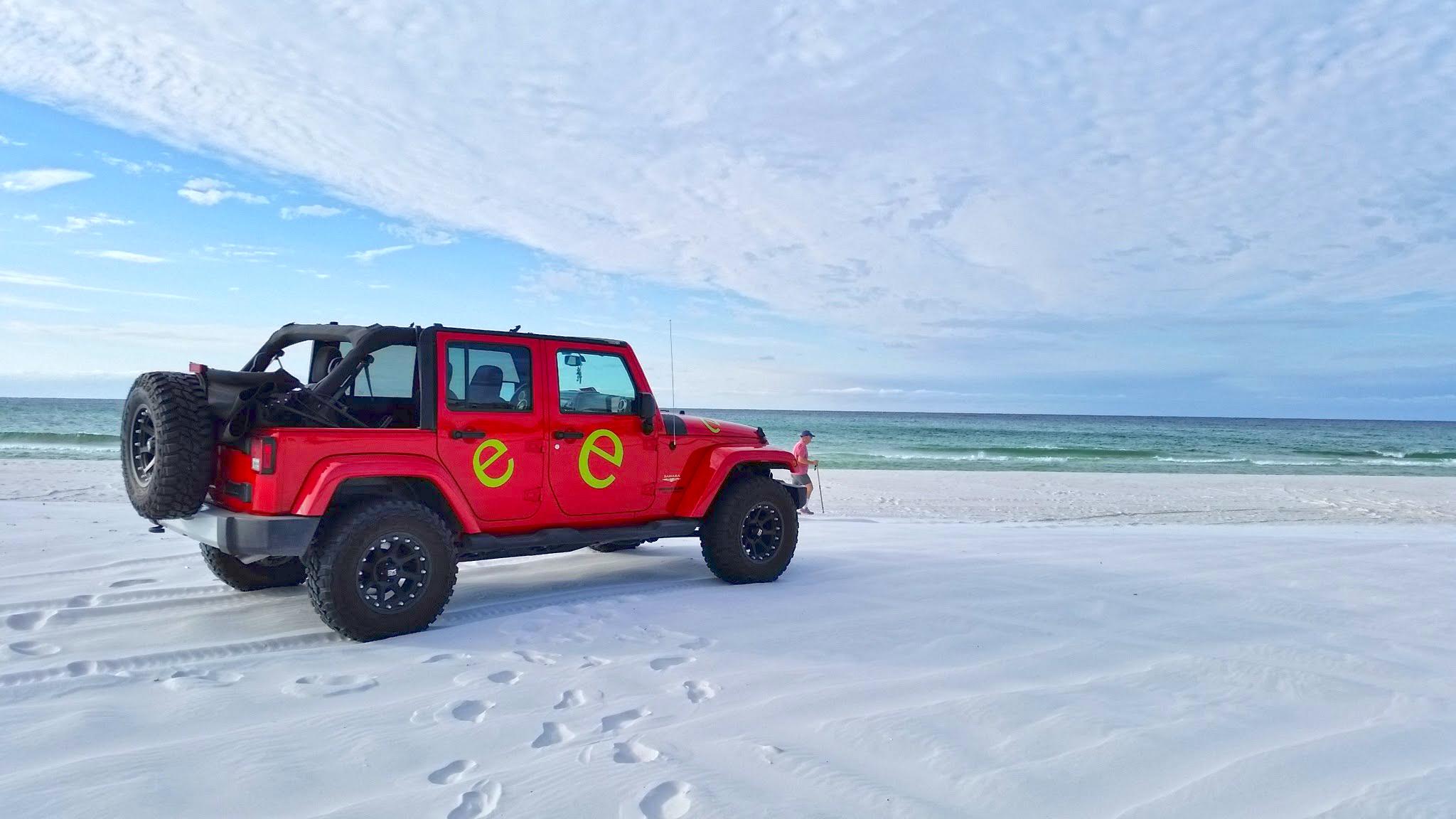 Off raod vehicle on beach trail