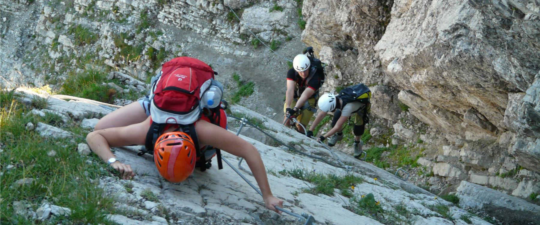 Rock Climbers Descending a Steep Rock Face 1800x750