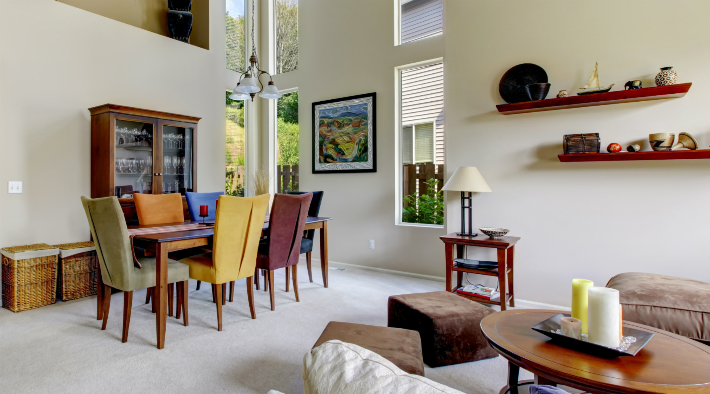 Living Dining Room multi colored chairs
