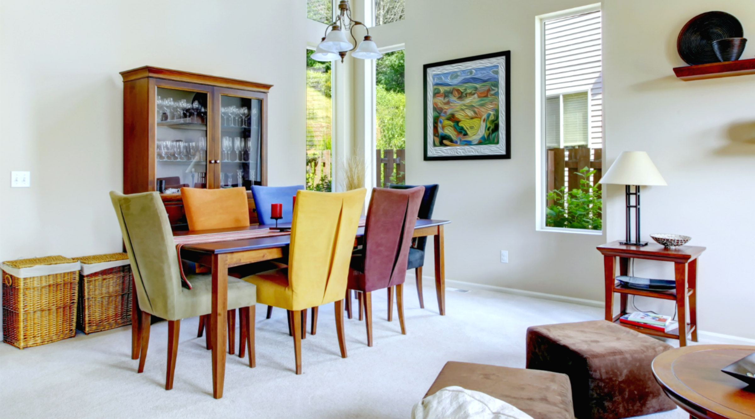 Living dining room modern multi colored chairs