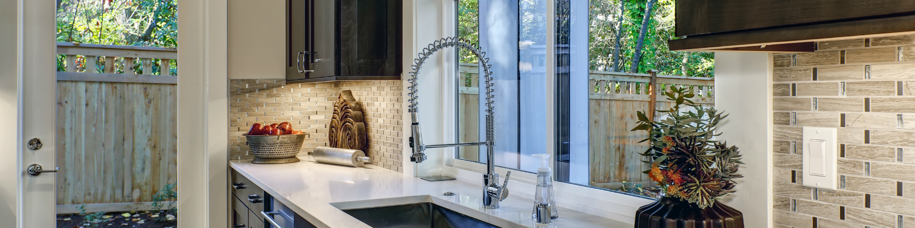 Contemporary kitchen tile backsplash chrome faucet