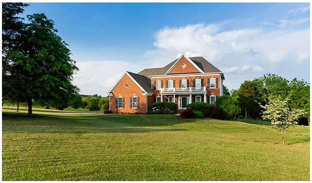 Country home in field