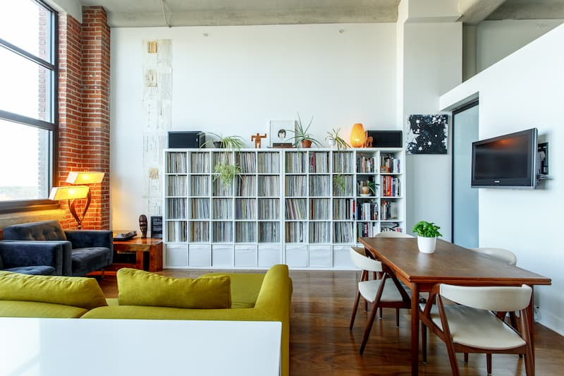 A cool urban condo with a bunch of vinyl records in it