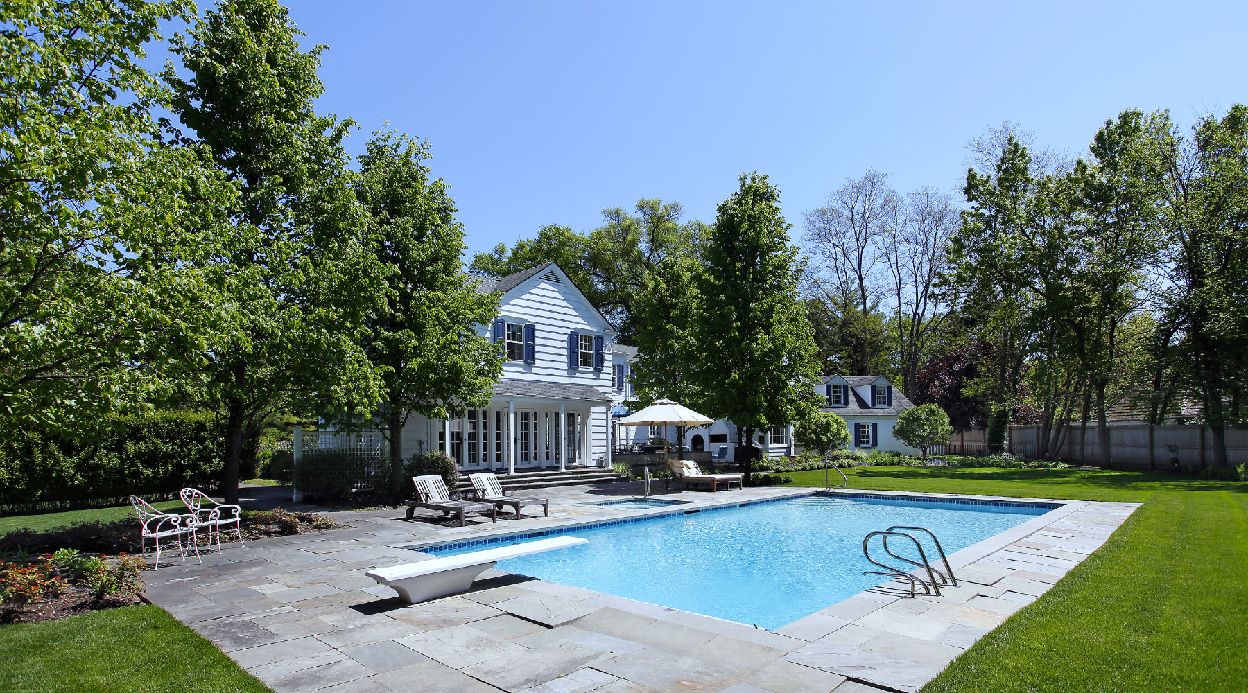 Rear view traditional home with pool