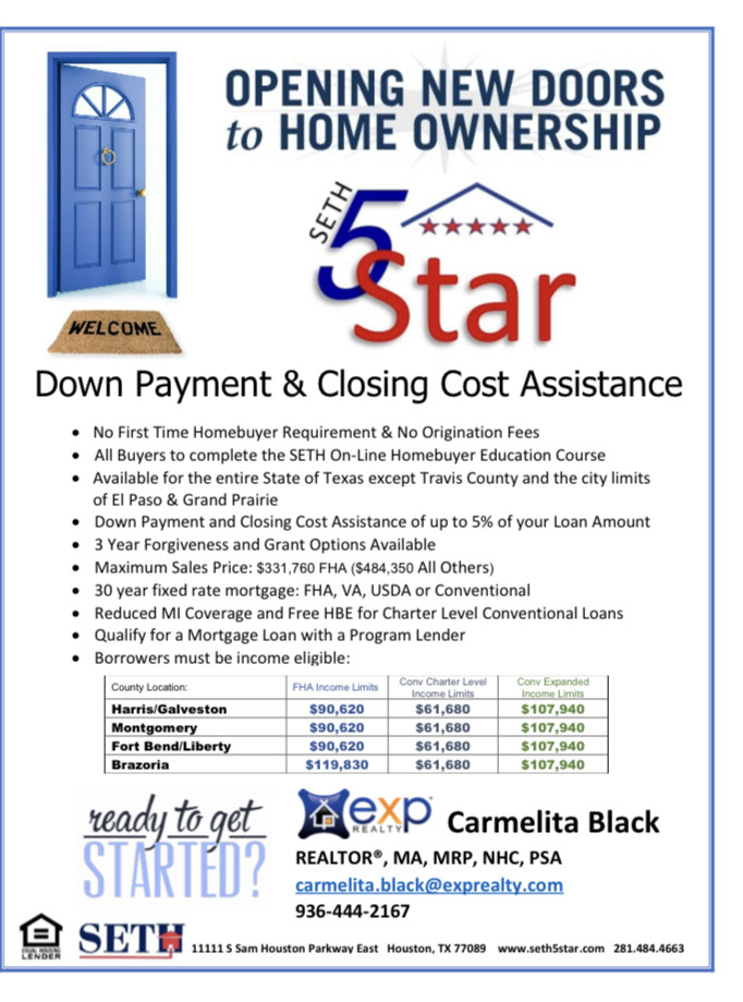 SETH5Star  Down Payment & Closing Cost Assistance Program - Carmelita Black REALTOR Brokered By eXp Realty - CarmelitaSellsHousesCom - 936-444-2167