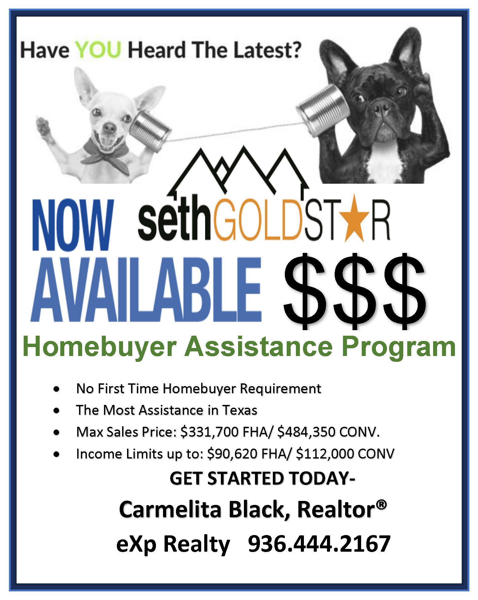 SETH Gold Star  Down Payment & Closing Cost Assistance Program - Carmelita Black REALTOR Brokered By eXp Realty - CarmelitaSellsHousesCom - 936-444-2167