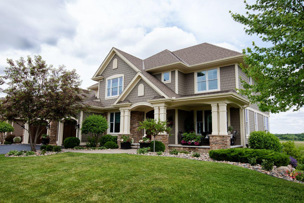 large single-story house with yard