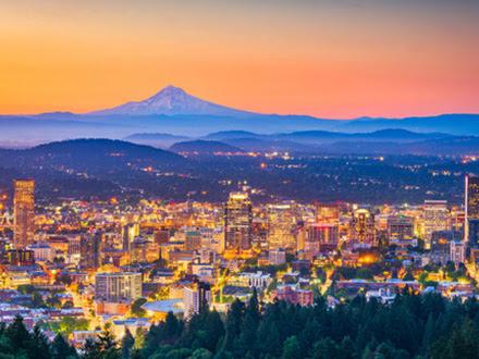 Portland sunset skyline