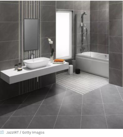 Bathroom with grey diagonal tiles