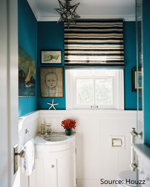 Small bathroom with corner sink and vanity