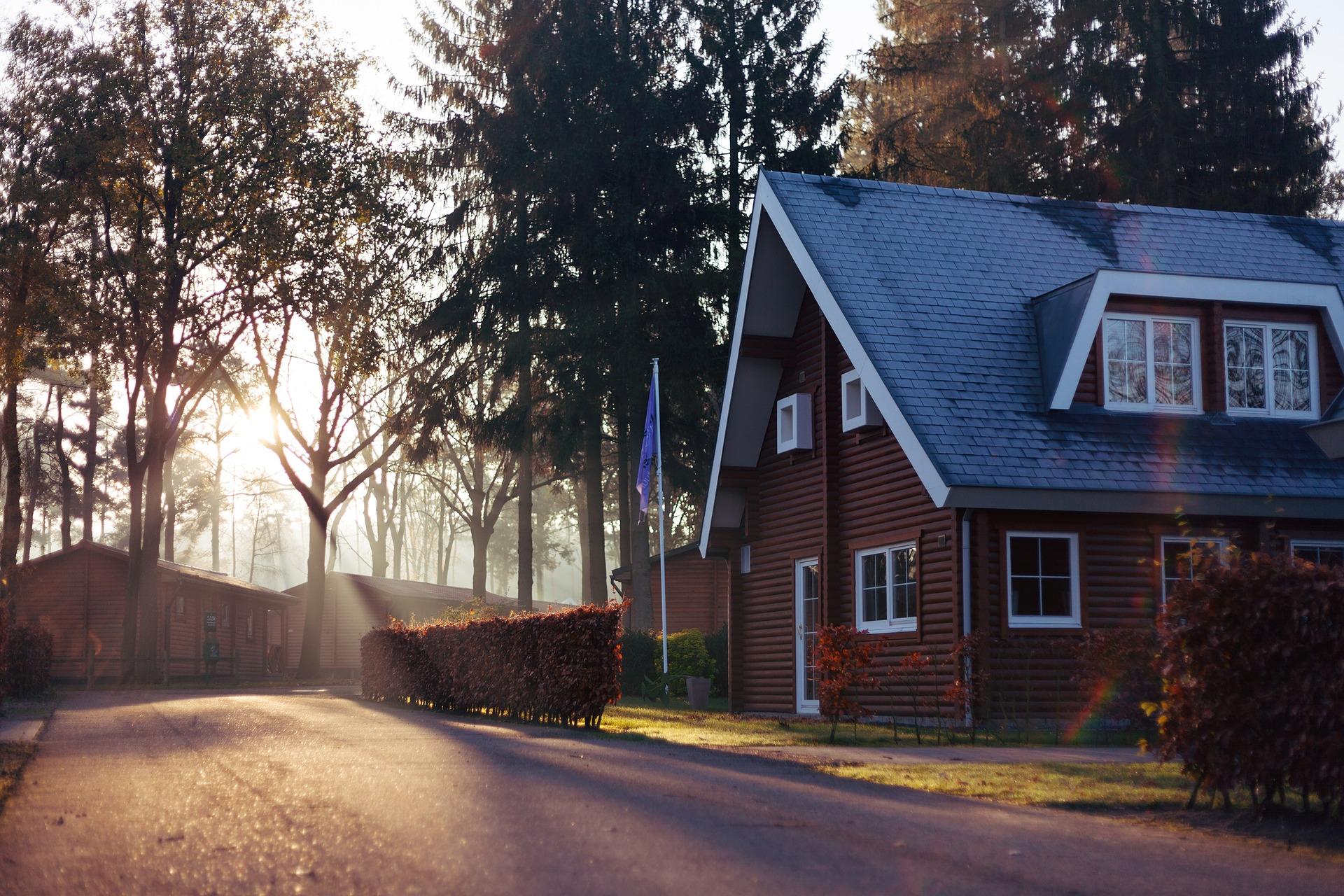 home in forest neighborhood