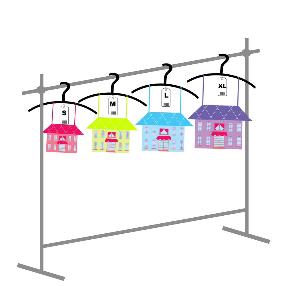 Small, Medium and Large Homes on clothes line.