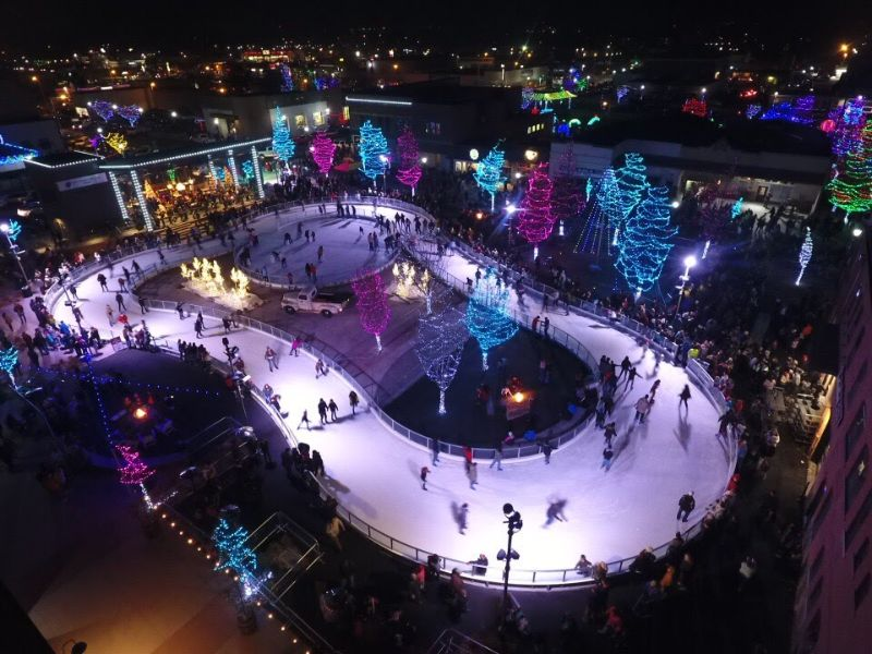 outdoor ice skating rink at night
