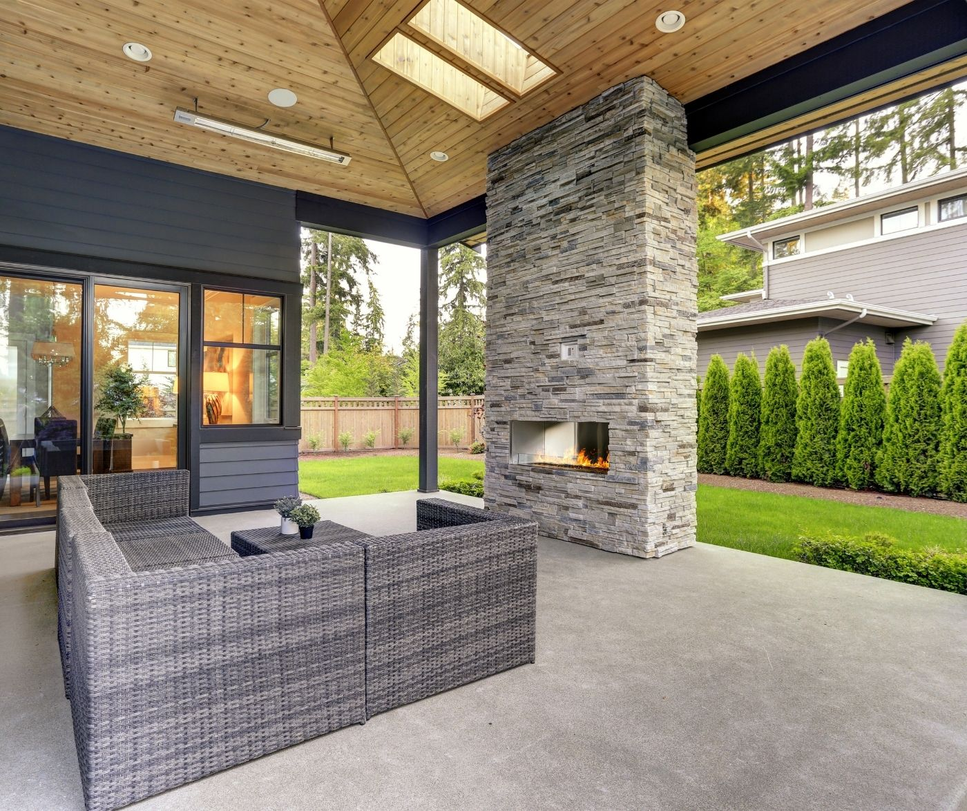 Backyard Entertaining Space Fireplace