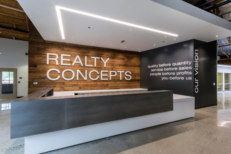 fresno office lobby with our vision statement. quality before quantity, service before sales, people before profits, you before us