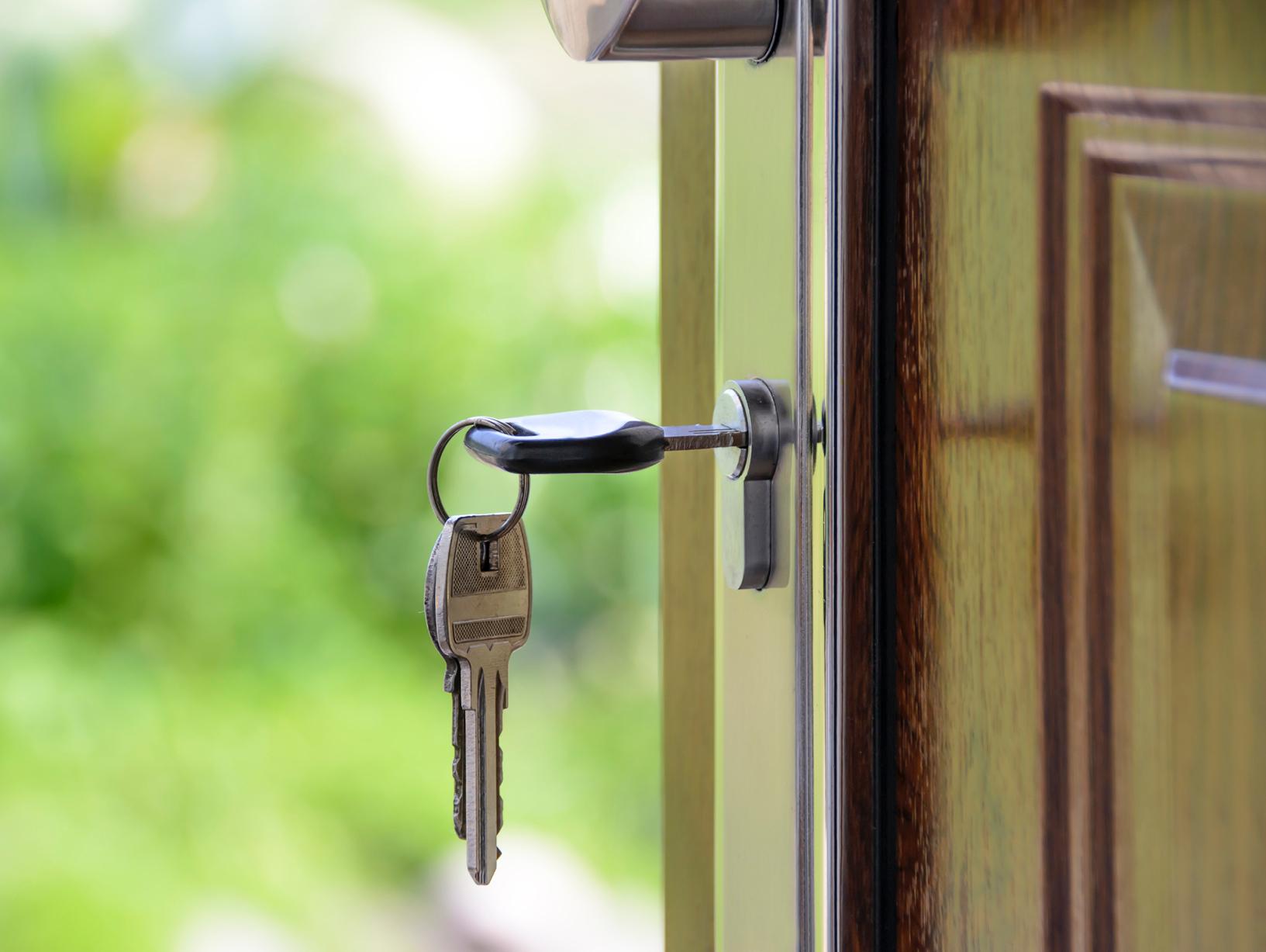 Keys hanging in a front door