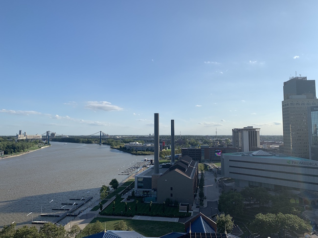 View of Downtown Toledo from The Heights patio