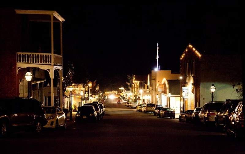 Downtown Nevada City at Night