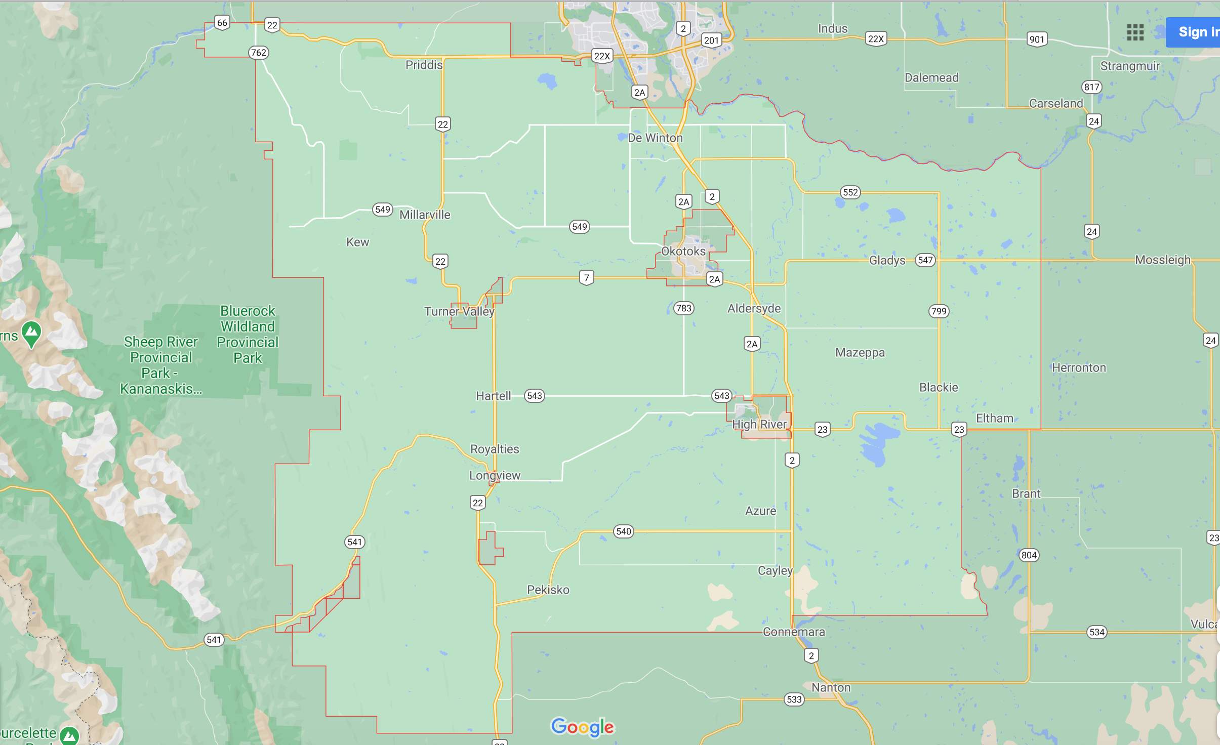 Map of Foothills County