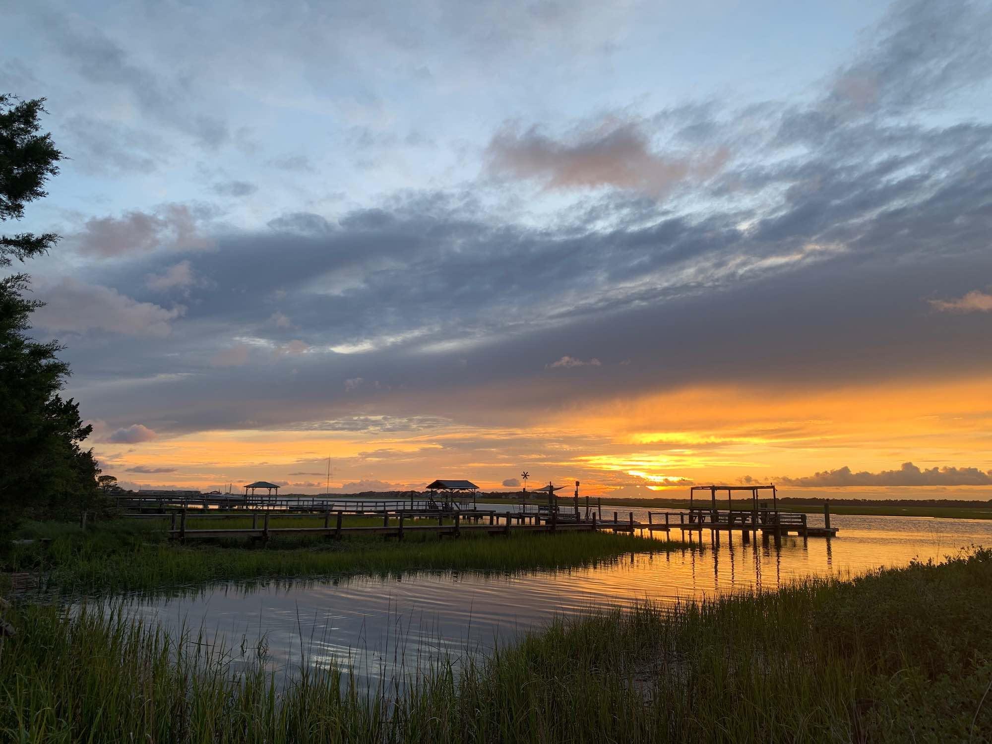 Charleston SC sunset over water, Ashley River