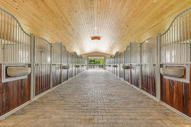 Modern Horse stable with tiled floors