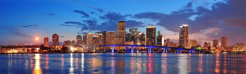 downtown brickell at night with bridge