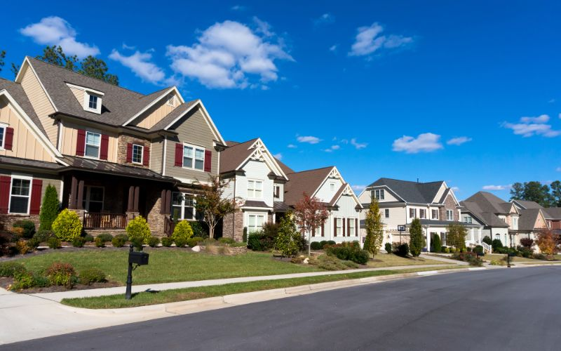suburban houses on street