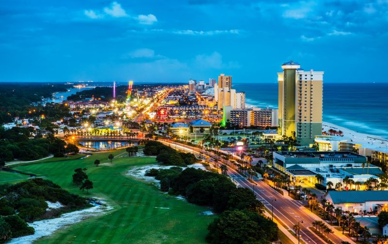 coastal city with grass