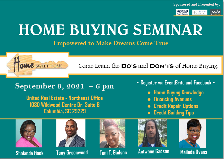 Home Buying Seminar - September 9, 2021 6pm - United Real Estate Northeast Office