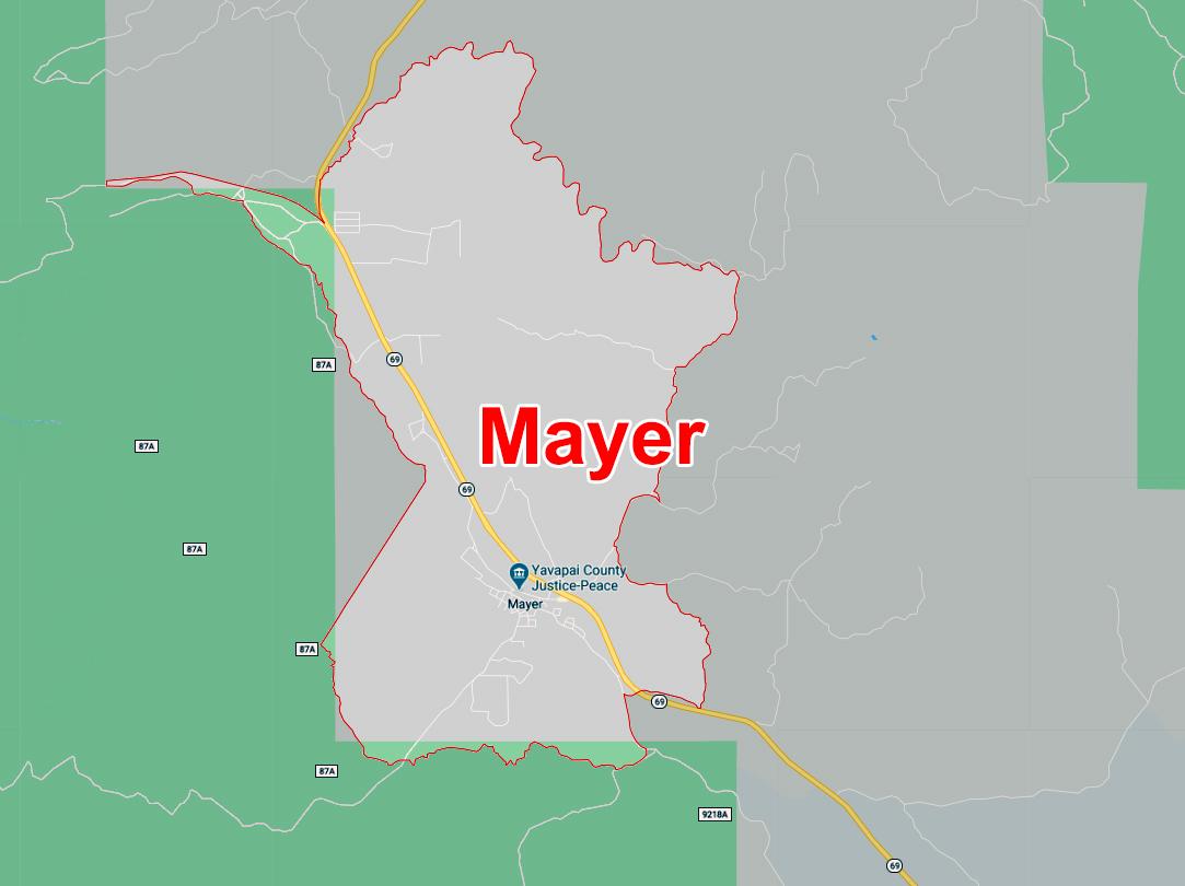 Map of Mayer, AZ