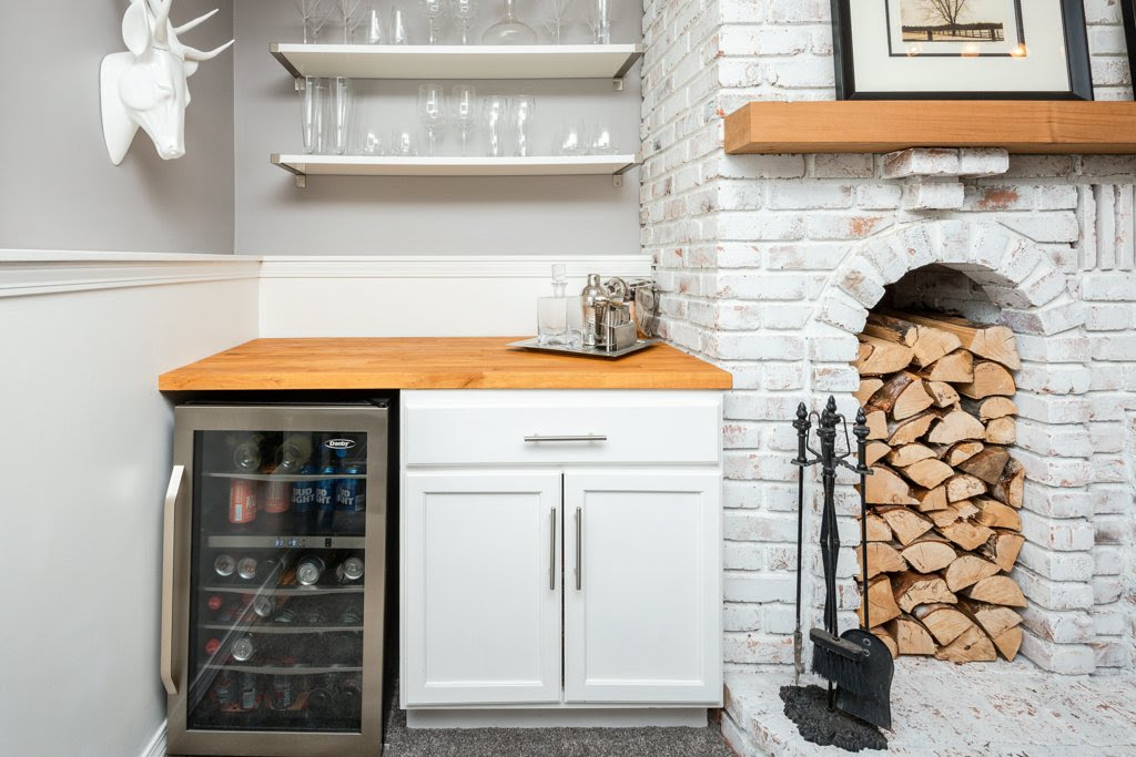 Bar with brick fire place